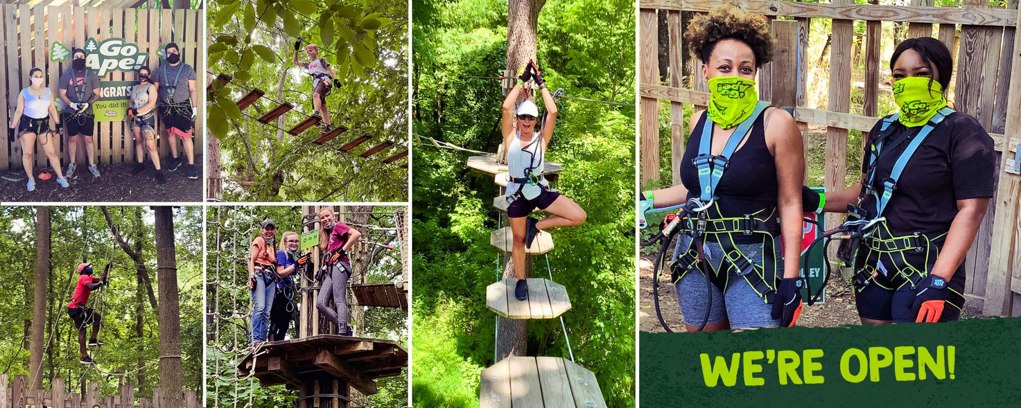 Go ape treetop adventure and zipline guests on the obstacles in the trees